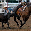 Conner Gentry, of Pleasanton, Kan., competes in the steer wrestling competition on Friday night at the Columbus Saddle Club Rodeo in Columbus.<br /> Globe | Laurie Sisk