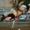 Michael McCammon, of Fort Scott, hangs on during the bareback competition on Friday night at the Columbus Saddle Club Rodeo in Columbus.<br /> Globe | Laurie Sisk