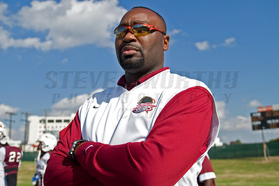 Coach Asberry of Shaw University before the CIAA Football championship. Nov. 2008