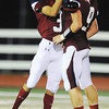 Globe/T. Rob Brown<br /> Joplin's David Hoosier (31) congratulates Tristan Ash after Ash made a turnover against Hillcrest during Friday night's game, Sept. 7, 2012, at Joplin's Junge Field.