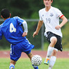 Globe/T. Rob Brown<br /> College Heights Christian School's Brantly Gossett, right, maneuvers around Riverton's Brayden Sullivan Friday evening, Sept. 14, 2012, during the Thomas Jefferson 2012 Cavalier Soccer Classic. Gossett scored his 100th career goal in the game.