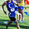 Globe/T. Rob Brown<br /> Carthage High School junior Ben Southwick rounds a corner before heading for the finish line during the Carthage cross country meet Thursday evening, Sept. 6, 2012, at Carthage Municipal Golf Course. Southwick took second place in the boys race.