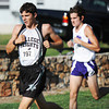 Globe/T. Rob Brown<br /> College Heights Christian School junior Ryan Beaver leads a group during the Carthage cross country meet Thursday evening, Sept. 6, 2012, at Carthage Municipal Golf Course. Beaver ended up placing 11th in the boys race.