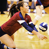 Globe/T. Rob Brown<br /> Joplin's Anna Banwart digs the ball against Nevada during a varsity volleyball match Tuesday night, Sept. 25, 2012, at Joplin Memorial Middle School's gymnasium. Joplin won the first game 26-24.