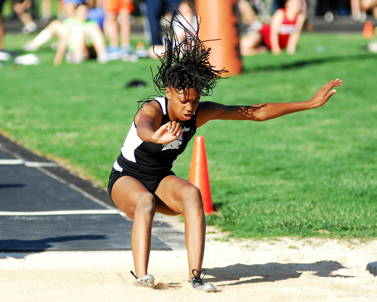 Liberty's Janiqua Johnson jumps for her personal best and the third place leap at the Don Boyer Invitational.