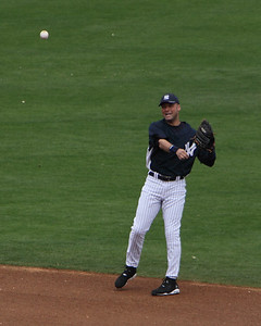 Derek Jeter making play to first base
