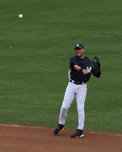Derek Jeter making play to first base