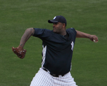 CC Sabathia getting a work out in spring training against Pittsburgh