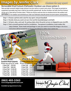 Any sport can be made into a fathead. There are 2 options for printing; Vinyl or Photo-tex which is an amazing removable adhesive fabric. Vinyl can can be used over and over but only used 1 time on windows or mirrors and is not for outdoor use. Photo-tex is great for textured walls, outdoor use on cars or windows and can be used over and over like the vinyl. Please contact me if you have any questions.