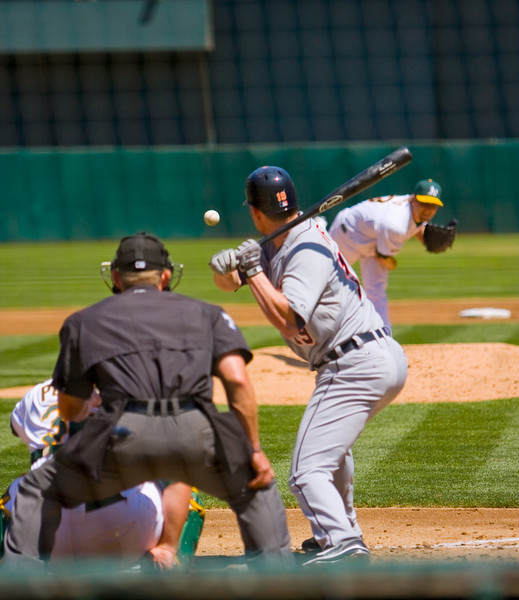 Detroit Tigers Infielder, Aubrey Huff  at the plate against the Oakland A's 08/23/09