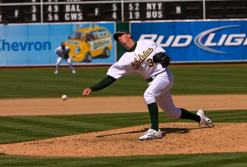 A's Pitcher, Brad Ziegler pitching to the Detroit Tigers on 8/23/09