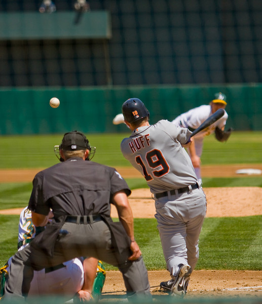 Aubrey Huff of the Detroit Tigers smashes one to left field VS. Oakland A's 08/23/09