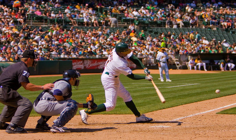 A's outfielder Rajai Davis at bat against the Detroit Tigers on 8/23/09.