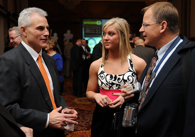 Former Browns player Dick Ambrose, left, talks with Elyria High softball standout Tess Sito and Jack Sito at the Greater Clevelands Sports Awards Feb. 3.   Steve Manheim/CT