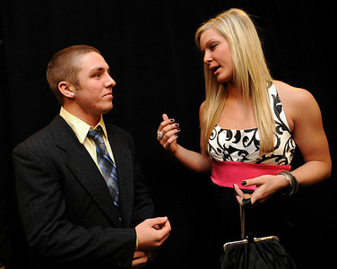 Collin Palmer, four-time state wrestling champion for St. Ed's, of Columbia Station, talks with Tess Sito, Elyria High softball standout, at the Greater Cleveland Sports Awards Feb. 3.   Steve Manheim/CT