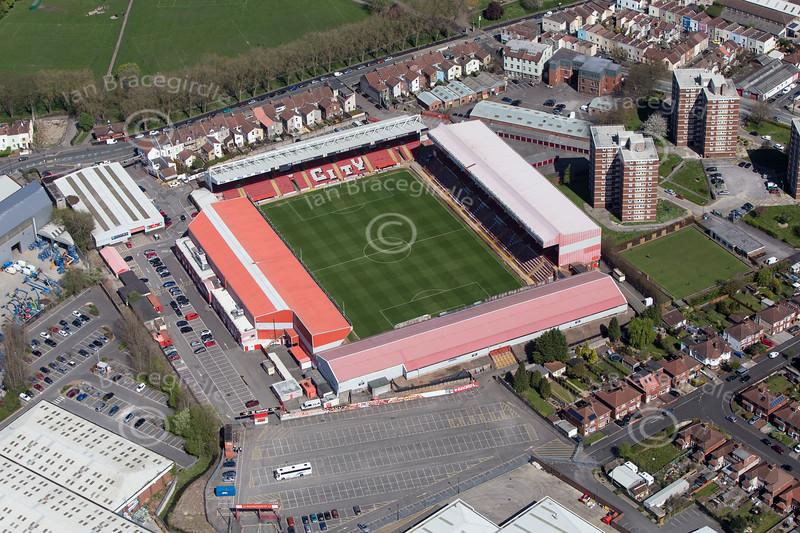 Bristol City Football Club from the air.