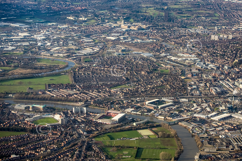 Aerial photo of Nottingham's major sports grounds.