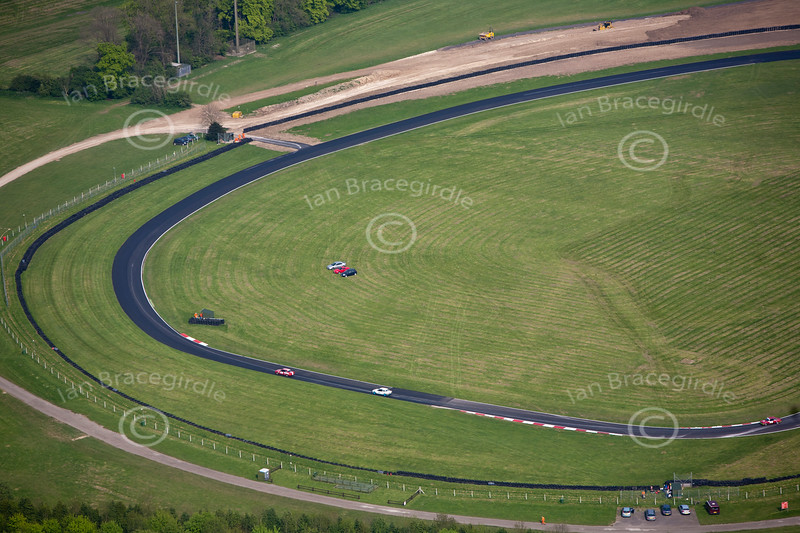 An aerial photo of Cadwell Park race circuit.