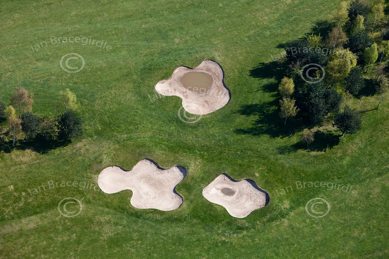 Aerial photo of a golf course.