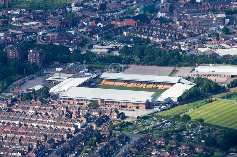 Port Vale football Ground in Stoke on Trent from the air.