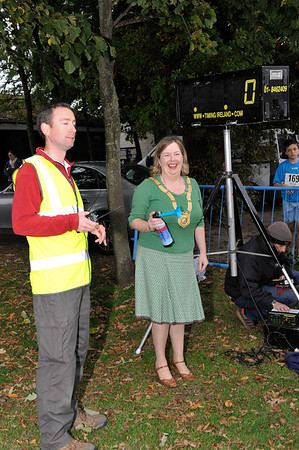 An Cathaoirleach Cllr Carrie Smyth gets ready to start the race off with race organiser Shane McArdle dlr Sports Partnership.<br /> dlr Community 5K, took place on Saturday 12th October 2013 at 2pm in Kilbogget Park, Ballybrack.<br /> Now in its 5th year, this family fun event brings together the whole community: people of all ages and abilities. Once again kicking off Social Inclusion Week, all fitness levels were welcome where you can walk, jog, run, wheel or push a buggy.<br /> The 5-kilometre route took participants around the picturesque Kilbogget Park and was suitable for all levels of ability and fitness.  This annual event is organised by DLR Sports Partnership and its partners Dún Laoghaire-Rathdown County Council, dlr Leisure Services, the HSE, Cabinteely Athletic and Football Clubs and Sallynoggin College.<br /> For further information contact Dún Laoghaire-Rathdown Sports Partnership Tel. 01-2719502