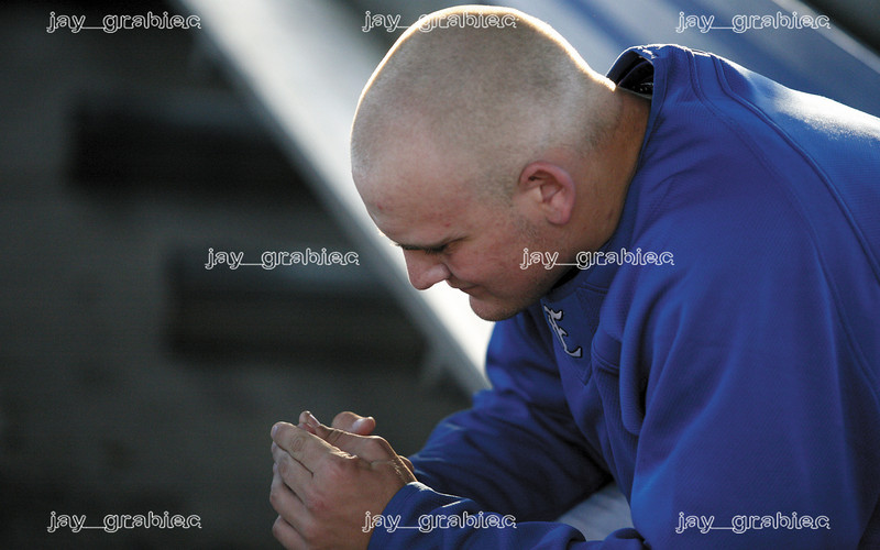 EasternÕs freshman pitcher Mike Recchia mentally prepares in the dugout before he goes on the field to pitch during a game against the University of Illinois at Grimes field in Peterson Park on April 15, 2008. (Jay Grabiec/Staff Photographer)