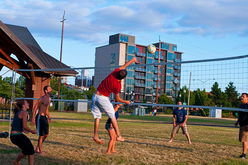 Summer Volleyball in Riverfront Park.