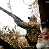 Chad Smith and Dennis Noffke shoot at a duck during a hunt on Lake Mattoon on Saturday, November 15, 2008. (Jay Grabiec/Staff Photographer)