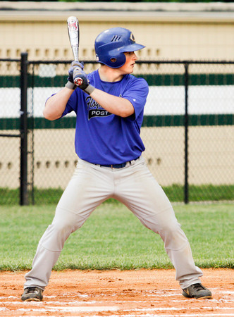 American Legion Post 42's Ryan Jones bats during their game against the Hoosier Express, out of Santa Claus, in Floyds Knobs on Tuesday, June 18. Staff photo by Christopher Fryer