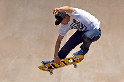 Golden Boy  - Rune Glifberg  shows his winning moves on  his way to a repeat gold medal at X-Games 15 Skate Park competition.