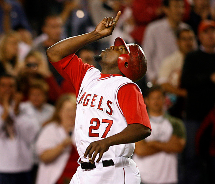 Angels Vladimir Guerrero looks to the sky after the second of two home runs he hit during the game against the Seattle Mariners.