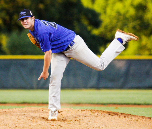 American Legion Post 42's Garrett Ruttle pitches during their game against the Hoosier Express, out of Santa Claus, in Floyds Knobs on Tuesday. Staff photo by Christopher Fryer