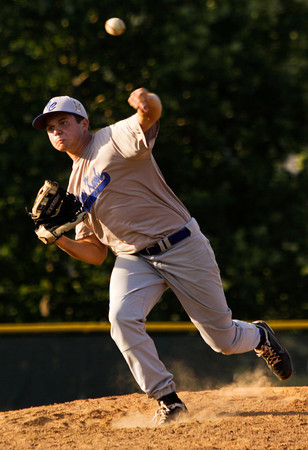 Floyds Knobs Post 42's Kyle Sipes pitches during their American Legion game against Madison Post 9 at Floyd Central High School on Tuesday evening. Staff photo by Christopher Fryer