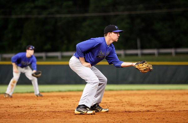 American Legion Post 42's Drew Reich prepares for a play during their game against the Hoosier Express, out of Santa Claus, in Floyds Knobs on Tuesday, June 18. Staff photo by Christopher Fryer