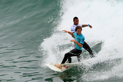 Double Trouble ~ Wiggolly Dantas (Brazil) & Billy Stairmand (New Zealand) receive a double interference call at the 2012 U S Open of Surfing