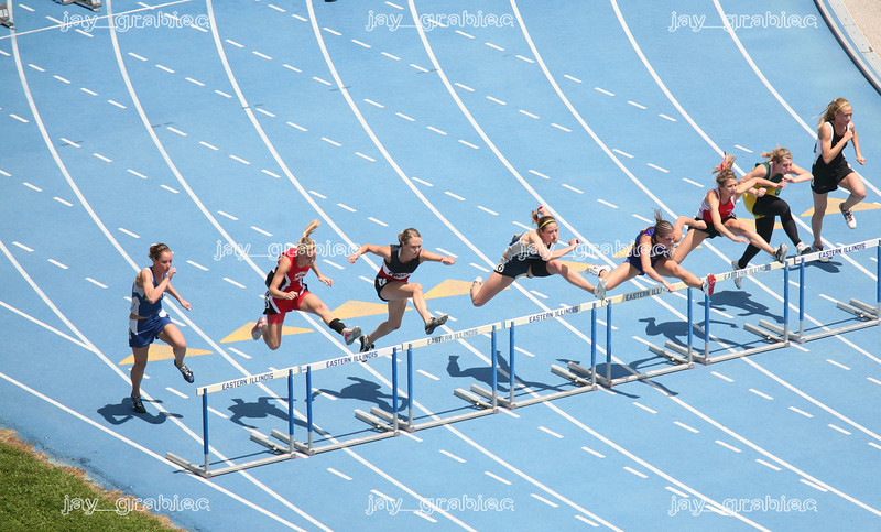 The field of competition during the 100-meter high hurdles event at the 2009 IHSA track ad field state finals at O'Brien Stadium on the campus of Eastern Illinois University in Charleston, Illinois on Thursday, May 21, 2009. (Jay Grabiec)