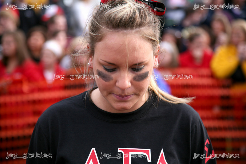 Alpha Gamma Delta Andi Petterson mentally prepares for a tugs competition against the Delta Delta Delta sorority at the Campus Pond at Eastern Illinois University during Greek Week on Wednesday, April 1, 2009. (Jay Grabiec)