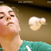 Ellen Stein, Elmhurst senior, eyes up the shuttle cock during a match against Shennen Chechang, Wheeling junior, at the IHSA badminton tournament on the student recreation center basketball courts at Eastern Illinois University on Friday, May 15, 2009.  Chechang one the match 18-21, 21-18, 21-17. (Jay Grabiec)