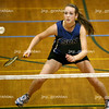 Jocelyn Jessop, St. Charles North junior, takes a shot during a doubles match against Aurora West at the IHSA badminton tournament on the student recreation center basketball courts at Eastern Illinois University on Friday, May 15, 2009. (Jay Grabiec)