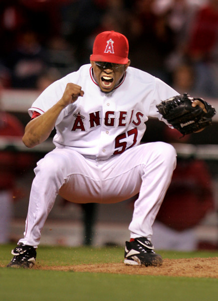Angel Francisco Rodriguez reacts after pitching in the 9th inning and striking out and completing the shut out of the Detroit Tigers Monday, at Angel Stadium in Anaheim.