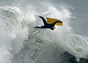 "Airborn: A bodyboarder is suspended where there is no sky and no Earth, only water. A storm in the Southern Hemisphere was behind the big surf at Southland beaches. He was at a popular spot called the ""Wedge"" in Newport Beach."