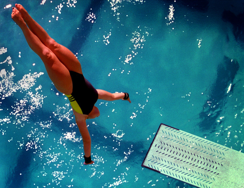 Capistrano Valley diver  Erica Sorgi, practices her dives at the Mission Viejo Aquatic Complex. Sorgi trained for the Olympics.