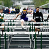 Tyler Sipes of Bloomington High School leads the pack during the 110 High Hurdles final of the Big 12 Track meet at Mattoon High School in Mattoon on Thursday, May 7, 2008.  Sipes finished the race in first place with a time of 13.78 seconds.  (Jay Grabiec/Staff Photographer)