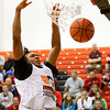 Indiana University recruit Ron Patterson scores during the slam-dunk competition at the Night of Future Stars in the gym at New Albany High School on Thursday evening. Staff photo by Christopher Fryer