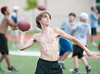 Coach Alan Wartes' Air-It-Out camp for 6th-8th grade quarterbacks and receivers, held at Strake Jesuit due to soggy field conditions at host HBU.