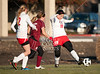 The Mavericks of St. John's School play the Dutch of Holland Hall in girls varsity D2 soccer at the SPC tournaent at Episcopal's Brown Field in record low temps. Holland Hall wins 2-1.
