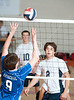 Houston's St. John's School hosts 12 mostly SPC teams in a 2-day Houston Cup men's varsity volleyball tournament. Here the Knights of Episcopal challenge the Casady Cyclones.