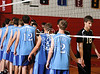 Houston's St. John's School hosts 12 mostly SPC teams in a 2-day Houston Cup men's varsity volleyball tournament. Here the Trinity Valley Trojans play the Mavericks of St. John's