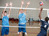 Houston's St. John's School hosts 12 mostly SPC teams in a 2-day Houston Cup men's varsity volleyball tournament. Here the Trinity Valley Trojans take on the Houston Volleyball Association.