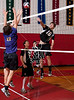 Houston's St. John's School hosts 12 mostly SPC teams in a 2-day Houston Cup men's varsity volleyball tournament. Here the Mavericks of SJS host the Kinkaid Falcons.